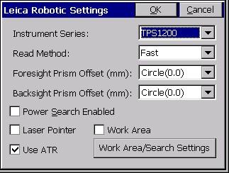 Settings Leica Robotic Ts